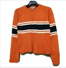 Orange Wool Sweater With Blue Chest Striped