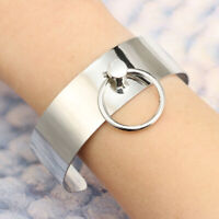 Women Girl Stainless Steel Silver Round Shaped Wide Cuff Opening Bangle Bracelet