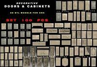 100 PCS 3D STL Models DOORS & CABINETS for CNC Router 3D Print Engraver Carving