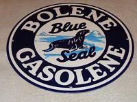 """VINTAGE BOLENE BLUE SEAL GASOLINE 11 3/4"""" PORCELAIN METAL ENAMEL GAS & OIL SIGN!"""