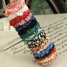 10pcs Color Women Girl Scrunchie Dot Print Ponytail Holder Hair Band Rope