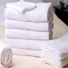 12 NEW WHITE HOTEL BATH TOWELS 22x44 100% COTTON WASHABLE WHITE SWAN COLLECTION