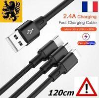 Câble Cordon chargeur Rapide USB 5V 2.4A Noir Multi 3 en 1 Samsung IPhone 120cm