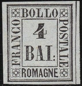 1859 Romagne, Proof Del 4 Baj (P4) Issue Without Rubber Certificate Raybaudi