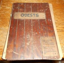 1940's Lodge Wooden Guest Book w Entries and Photos