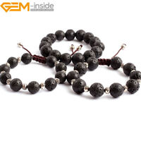 "Natural Gemstone Black Volcanic Lava Sponge Beaded Enegry Stone Bracelet 7.5"" UK"