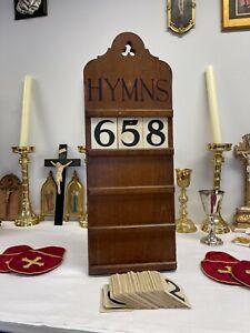 Beautiful Solid Oak Carved Antique Original Church Psalm / Hymn Board Cira 1910