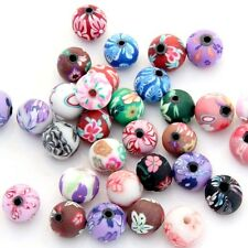 40Pcs Polymer Clay Flower Beads Finding--8mm