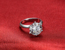 2.50CT Off White Moissanite Round Six Prong Engagement Ring 925 Sterling Silver.
