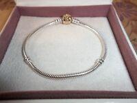 Genuine Authentic Pandora Silver & 14ct Gold Barrel Clasp Bracelet 590702HG 17cm