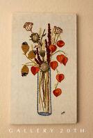MID CENTURY WILD FLOWER TAPESTRY! TEXTILE ORANGE BLUE BROWN ORIG. WALL ART 60s