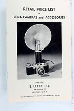 Original Leitz Ny Price List for Leica Photographic Equipment - June, 1951