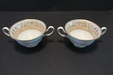 2 Wedgwood FLORENTINE Gold CREAM SOUP CUPS  W4219 Dragons Urns  Exc!