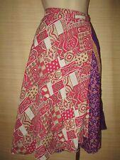 "New VINTAGE Silk sari wrap SKIRT FREESIZE (8-16 best) 26"" Knee/calf length (#94)"
