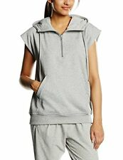 Adidas Essentials Women's Sleeveless Hooded Sweatshirt Jog Top Grey XS S M L