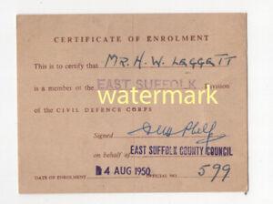 Civil Defence Corps enrolment certificate, Suffolk, 1950