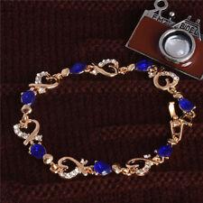 18K GOLD EP 3 CT DIAMOND SIMULATED SAPPHIRE HEARTS LINK BRACELET