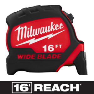 MILWAUKEE 16 ft. x 1.3 in. Wide Blade Tape Measure with 16 ft. Reach