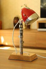 Vintage Desk Lamp From Motorcycle Headlight, Hardwood Base & Engine Shaft