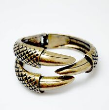 Bracelet Ouvrable Doré Antique Talon Aigle Gravure Metalique Original CT9
