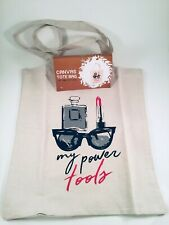 """Canvas Tote Bag, """"My Power Tools"""" Makeup Perfume Glasses, Shopper Carry All Bag"""