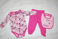 Baby Girls 3 PC OUTFIT Pants L/S Shirt & Bib PINK POODLES I've Got Style 3-6 MO
