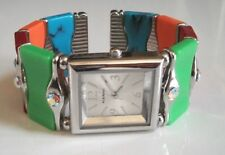 Ladies Springless Turquoise/Candy Color Beaded Bangle Cuff Fashion Watch