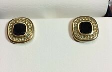 VINTAGE CHRISTIAN DIOR Square Onyx With Rhinestones Goldtone Setting Earrings ~