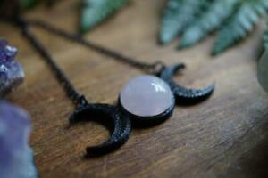 Black Triple Moon Goddess and Rose Quartz Necklace Celestial Moon Jewelry