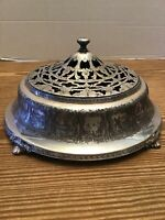 """Superb Antique Scenic Pierced Footed Silver Plate Covered Dish, 9""""x5"""", FS Co."""
