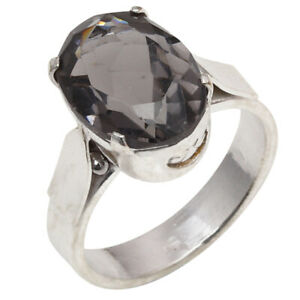 "Smoky Quartz Gemstone Handmade Gift For Her 925 Silver Jewelry Ring ""7.5"""