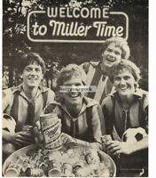 1982 MILLER HIGH LIFE BEER Welcome To Miller Time Soccer Players Vtg Print Ad