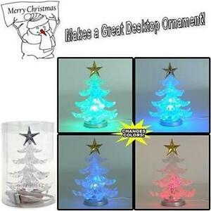 USB Powered Mini Christmas Tree w/6 LED Colors & Silver Star - MERRY CHRISTMAS