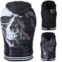 Yakuza Herren Weste Totenkopf Print Jacke ohne Arm Skull Quilted Vest ärmellos