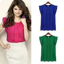 2017 New Womens Casual Shirt Loose Chiffon Short Tulip Sleeve Blouse Shirt Tops