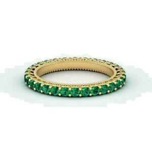 2Ct Round Cut Green Emerald Full Eternity Wedding Band 14K Yellow Gold Finish