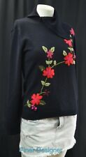RENE DERHY floral embroidered sexy split neck Sweater multi thin knit S NEW VTG