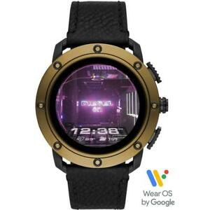 Mens Smartwatch DIESEL AXIAL DZT2016 Leather Black Touchscreen Golden GEN 5