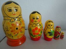 Vintage 5 Wooden Russian Babushka Dolls--Hand Made & Hand Painted-FREE POSTAGE
