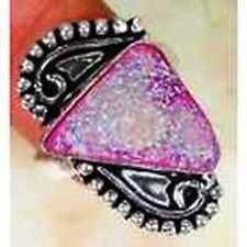 FUNKY PINK Titanium Druzy & 925 Silver Handmade Elegants Ring Size R B12-4959