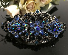 New Antique silver Tone Flower Rhinestone Blue Color Hair Clip Barrette ha17041