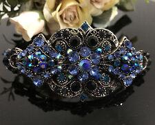 New Antique silver Tone Flower Rhinestone Blue Color Hair Clip Barrette ha17041