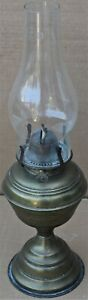 USEFUL OLD BRASS BASED VERITAS OIL LAMP TO CLEAN UP