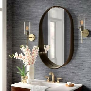 oval wall mirror natural wood veneer stained oak 50 х 75