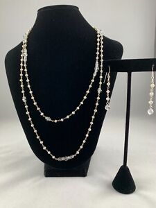 Deb Guyot Herkimer Diamond & Pearl Necklace and Earrings Set