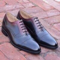 Formal Men Dress Shoes Oxford Two Tone Handmade Calf Leather Brogue Lace up