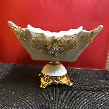White Ceramic Stunning Fruit bowl Romany Bling Gypsy Italian China Basket