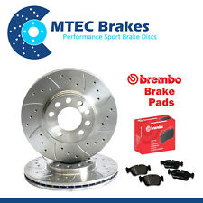 BMW E46 320Cd 10/03-08/06 Front Drilled & Grooved Brake Discs & Brembo Pads