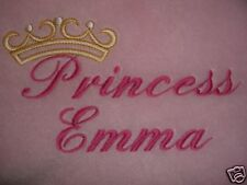 PERSONALISED BABY BLANKET, PRINCESS DESIGN, 6 COLOURS