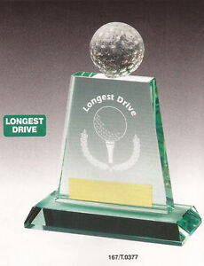 LONGEST DRIVE Jade Glass Golf Award *NEW FOR 2013*